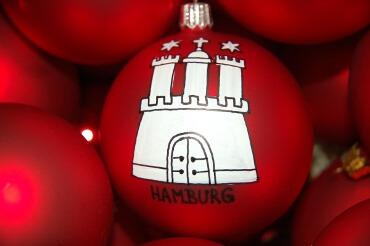 Weihnachtskugel mit Hamburg Wappen