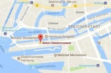 Location of the museum in the Speicherstadt